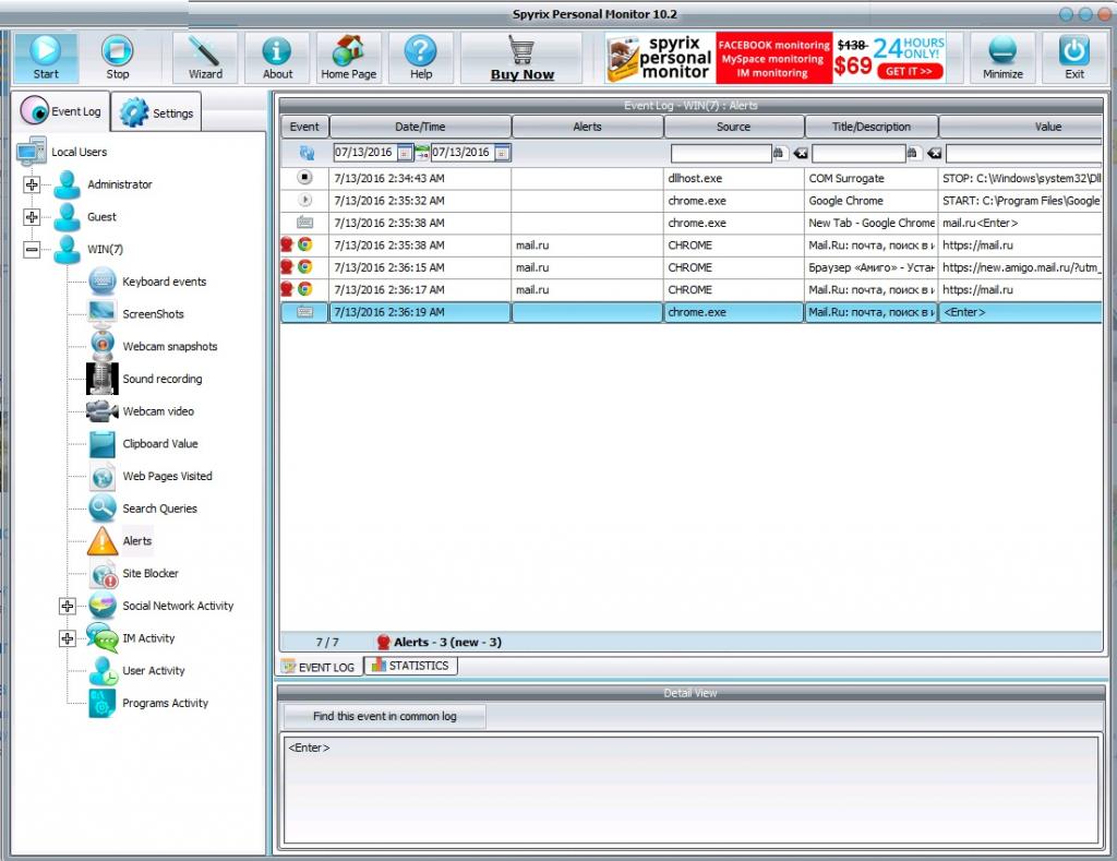 Spyrix Personal Monitor PRO - Screenshots